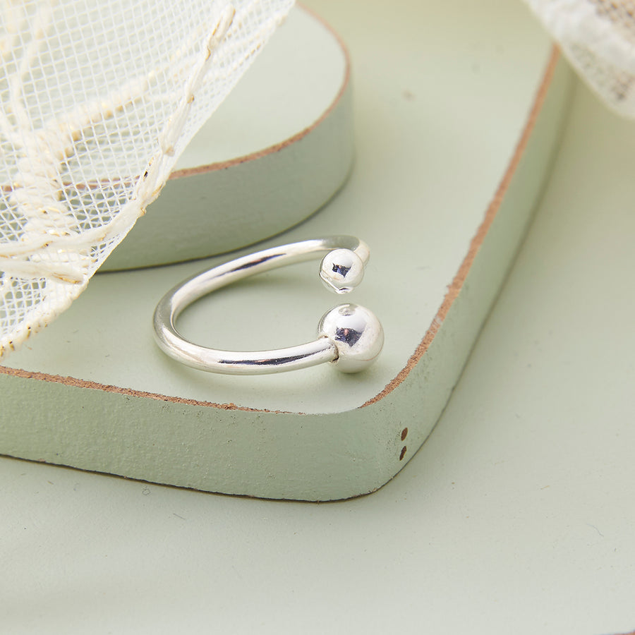 Sterling Silver Double Ball Twist Cuff Ring