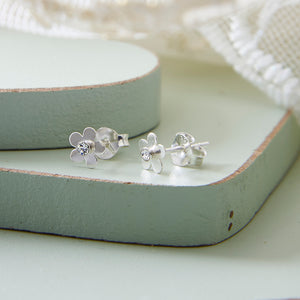Sterling Silver CZ Flower Earrings
