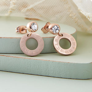 Rose Gold Roman Numeral Crystal Drop Earrings