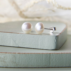 Baroque Style Ivory Freshwater Pearl Earrings
