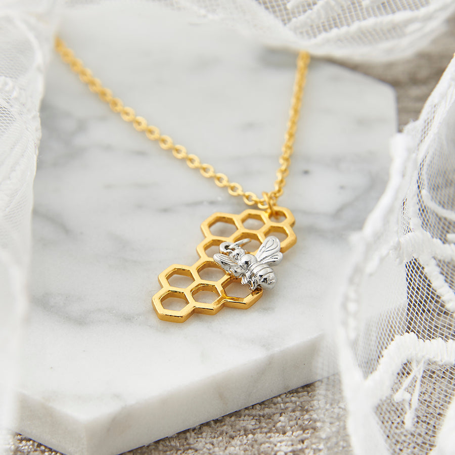 Gold Honeycomb with Silver Bee Necklace