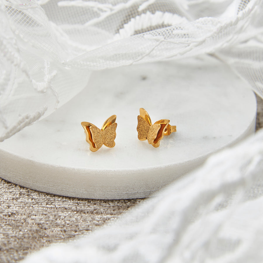 Gold Butterfly Stud Earrings
