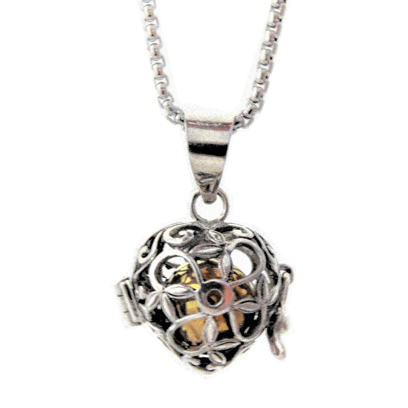 Sterling SIlver Heart and Flower Harmony Locket, Bola Ball, Chime Ball