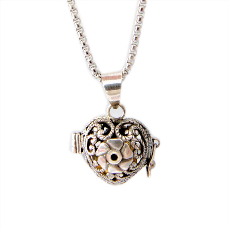 925 Sterling Silver Bali Heart and Rose Harmony Locket