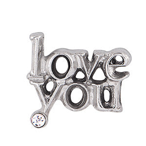 Crystal Love You Floating Charm