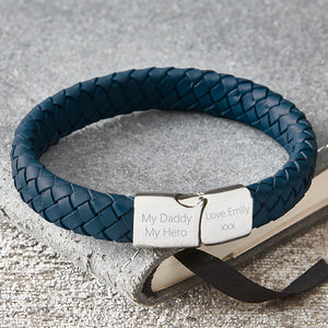Mens dusky blue personalised engraved bracelet