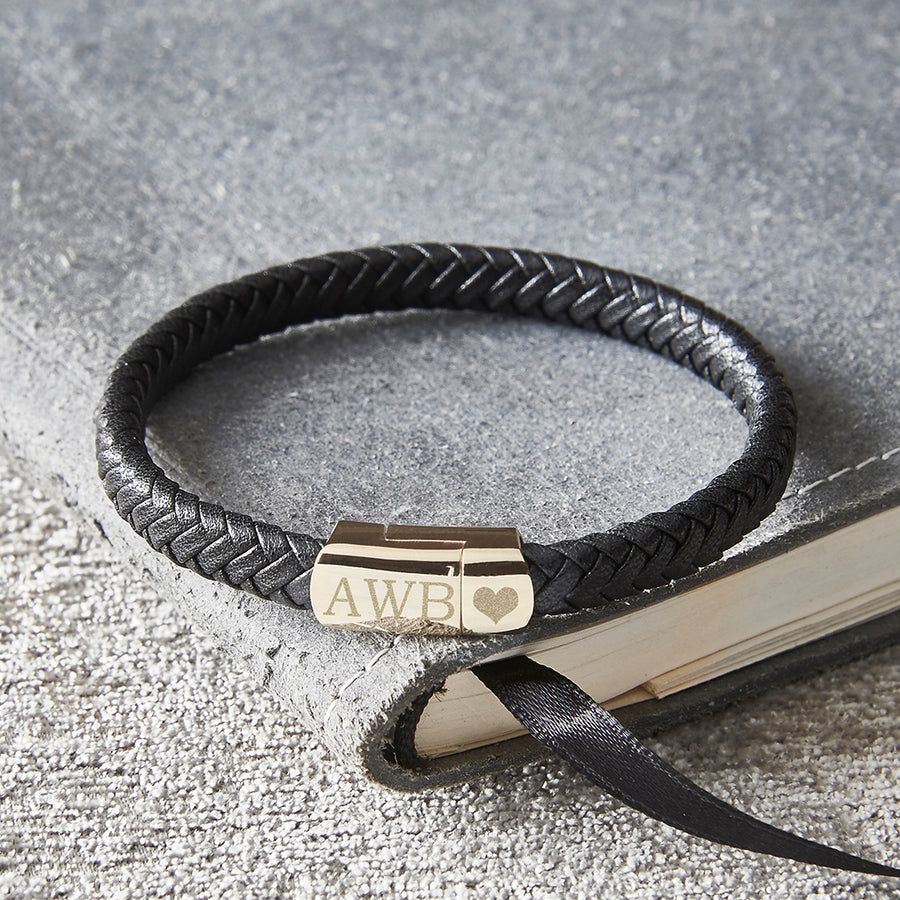 Personalised black leather men's bracelet with gold clasp