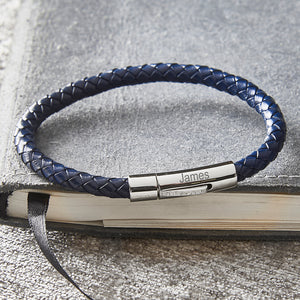 Men's Slim Personalised Engraved Blue Plaited Leather Bracelet