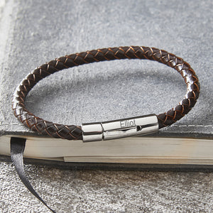 Personalised Engraved Slim Brown Plaited Leather Mans Bracelet