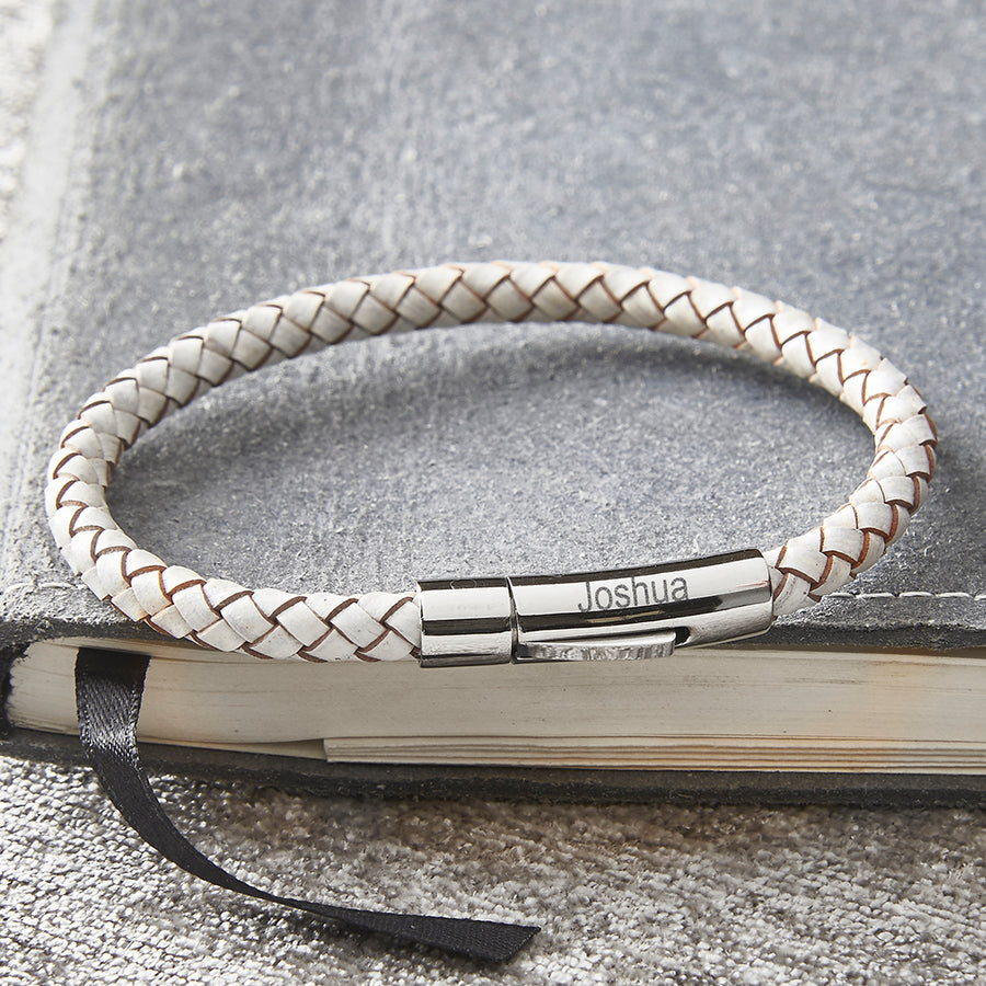 White Plaited Leather Mans Bracelet with Personalised Engraved Name