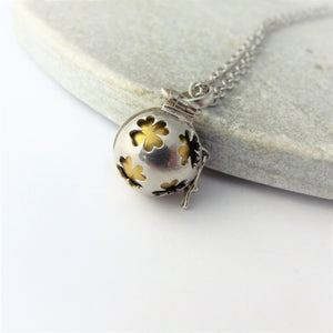 925 Silver Flower Pattern Harmony Ball Locket Necklace
