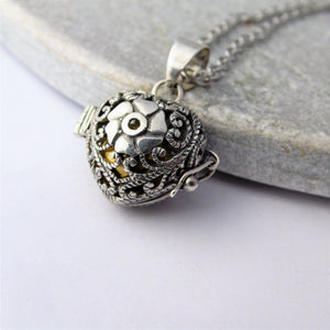 Rose Heart Sterling Silver Harmony Ball Locket Necklace