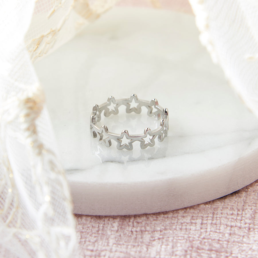 Silver Plated Steel Hollow Star Ring