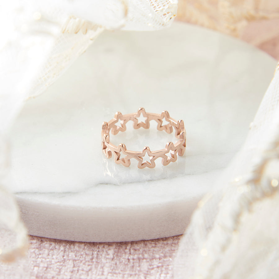 Rose Gold Steel Hollow Celestial Star Ring