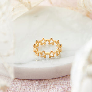 Gold Plated Hollow Star Ring