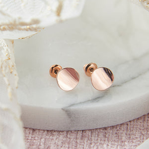 Rose Gold Curved Disc Stud Earrings by Pretty Little Keepsakes