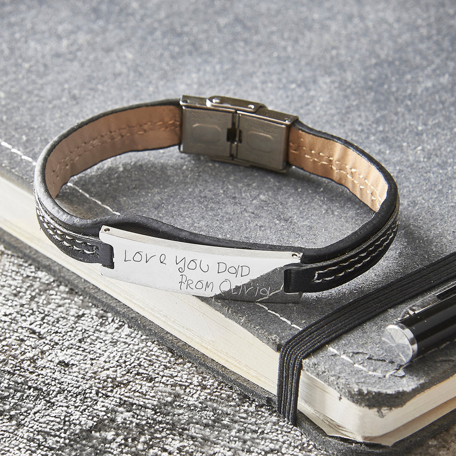 Men's Black Leather Bracelet with Personalised Actual Handwriting