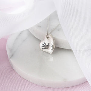 Personalised Silver Slanted Heart Hand or Foot Print Charm Necklace
