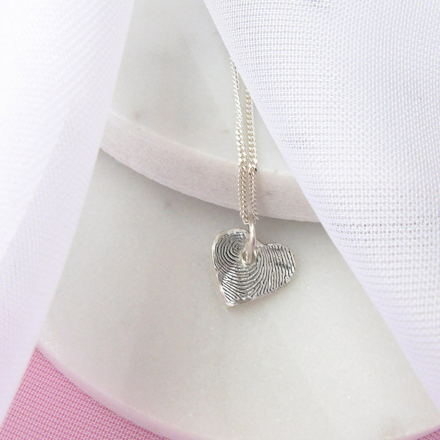Personalised Silver Heart Fingerprint Charm Necklace