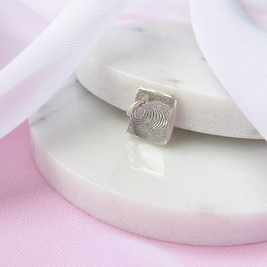 Personalised Mini Silver Square Fingerprint Charm