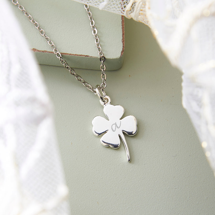 Silver Four Leaf Clover Necklace with Personalised Initial
