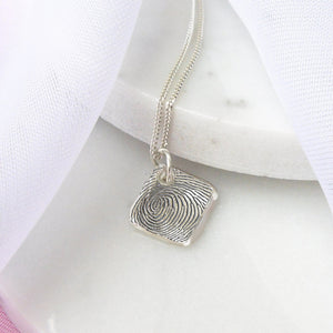 Personalised Silver Square Fingerprint Charm Necklace