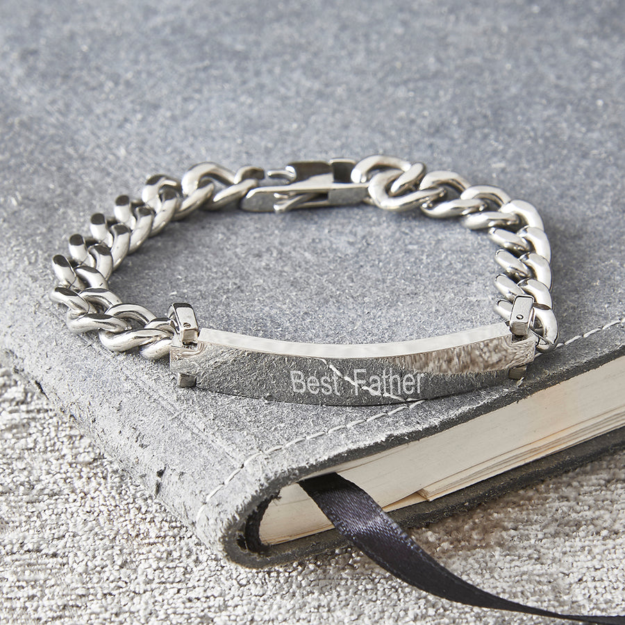Mans Personalised Engraved Stainless Steel Chain Bracelet