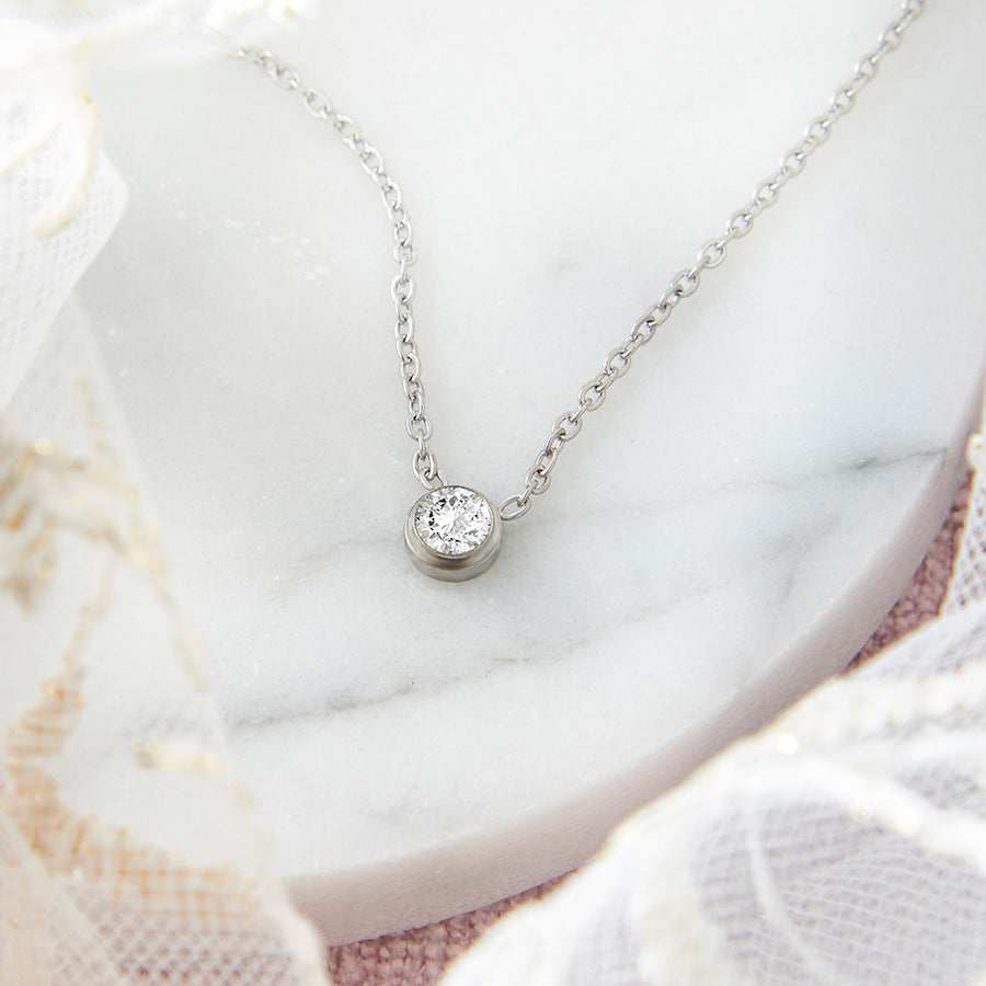 Silver CZ Solitaire Necklace