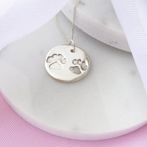 Silver Double Pawprint Necklace