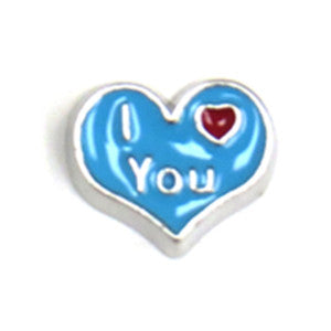 Blue I Love You Heart Floating Charm