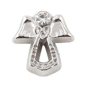 Silver Crystal Angel Floating Charm