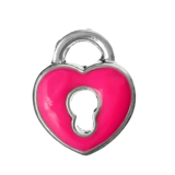 Pink Heart Padlock Floating Charm