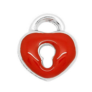 Red Heart Padlock Floating Charm