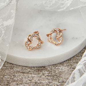 Rose Gold Entwined Hearts Earrings with Crystals