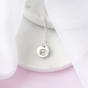 Small Silver Pawprint Charm Necklace