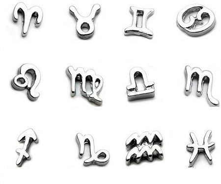 Silver Zodiac Star Signs Floating Charms