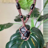 Black Tourmaline & Hemp Necklace
