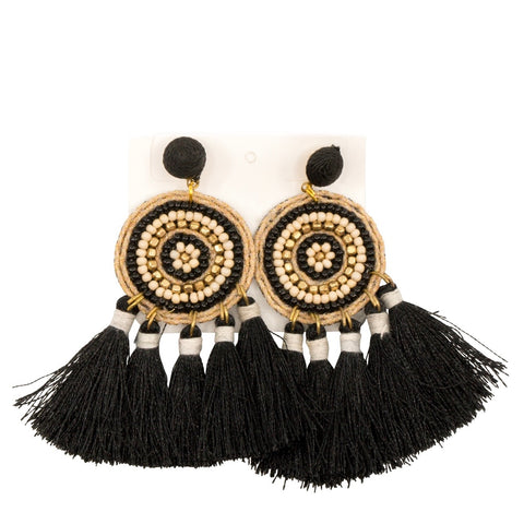Bead & Tassel IVY Stud Earrings - Black