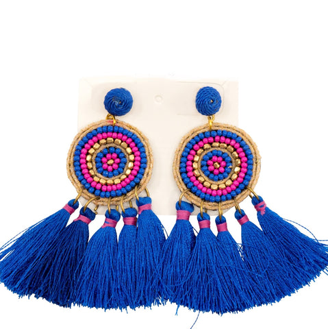 Bead & Tassel IVY Stud Earrings - Blue