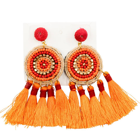 Bead & Tassel IVY Stud Earrings - Orange
