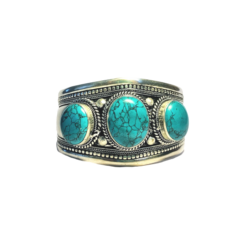 Silver Metal Cuff with 3 stones - Turquoise