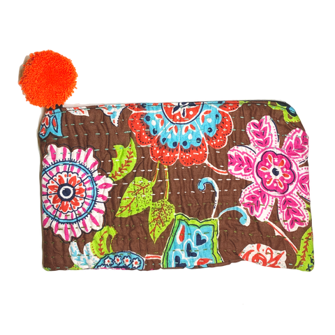 Handmade Kantha Purse with Pom Pom - BROWN/PINK