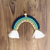 Blue and gold rainbow hanger/car dangle