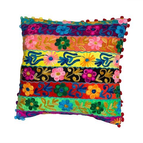 Floral embroidered Cushion Cover 40cm