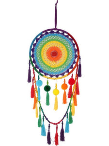 Large Rainbow Dreamcatcher with Pom Poms and Tassels