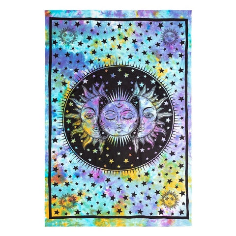 Cotton Tie Dye Sun/Moon Face Tapestry - Medium