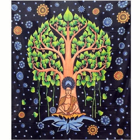 Cotton Multicolour Buddha/Bodhi Tree Tapestry - Large