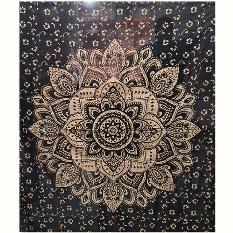 Cotton Black/Gold Mandala Tapestry - Large