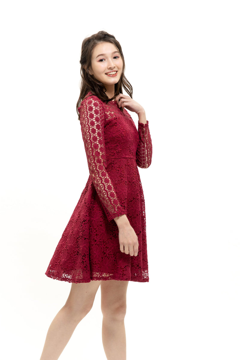 DG Dress Chelsea Burgundy Dress Cocktail Lace Ruffle Offshoulder Ribbon Onepiece Openback Work Dating Birthday Wedding