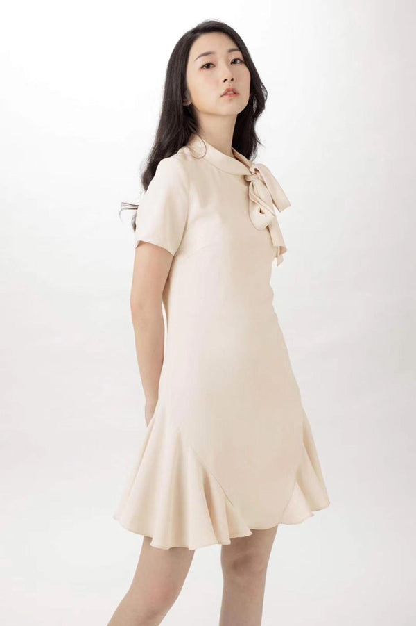 Diana Beige Ribbon Dress